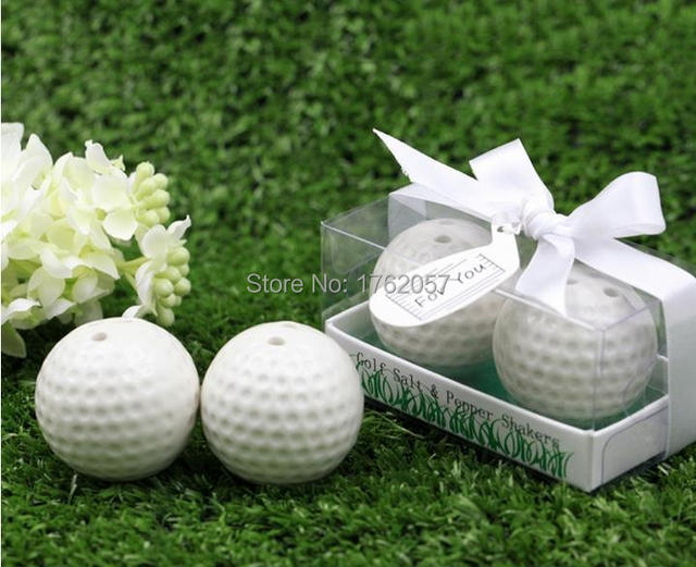 lowest price 20pcs10boxes new wedding favors white golf ball salt and pepper shakers bridal
