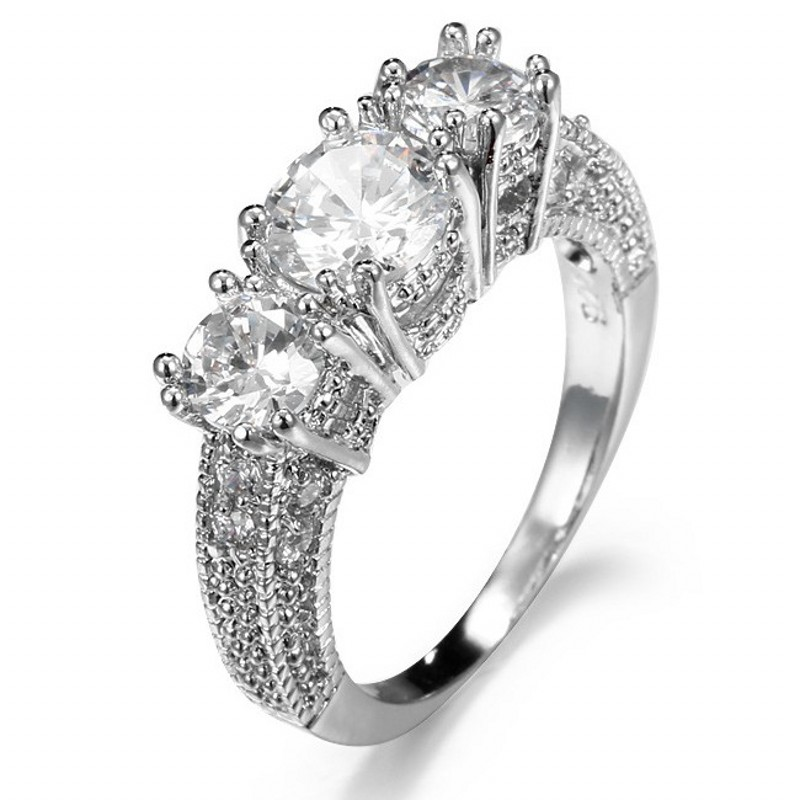 Antique Ladys 10KT Gold Filled Three stones 5a Zircon Gem Diamonique women Retro Wedding Ring for love gift