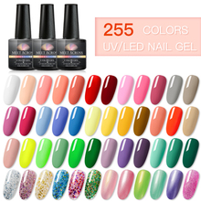 MEET ACROSS Gel Nail Polish Glitter Sequins Soak Off UV Nude Color 8ml Varnish DIY Art Laquer