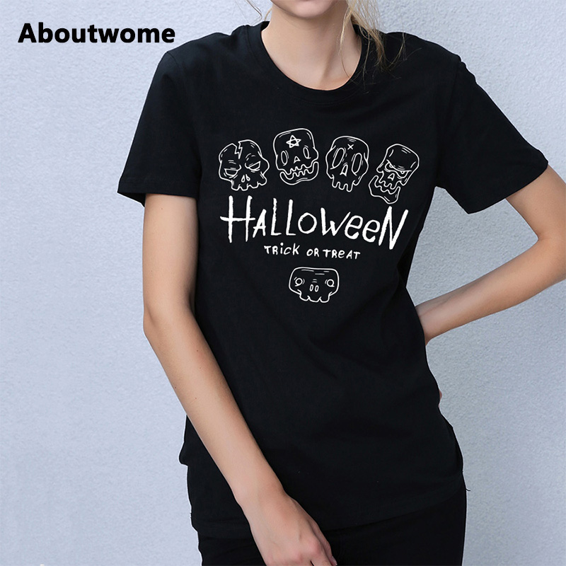women funny t shirts halloween prank ladies tops cool skull print tshirt hipster tee short sleeve - Halloween Shirts For Ladies