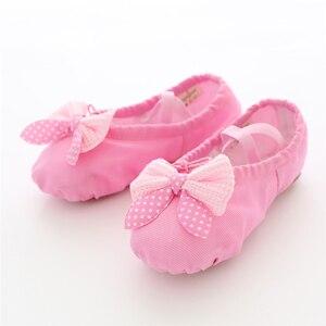 Image 1 - Kızlar dans ayakkabıları yumuşak tuval bale ayakkabıları Danse kızlar için çocuk çocuk yüksek kalite dans terlik balerin ayakkabıları