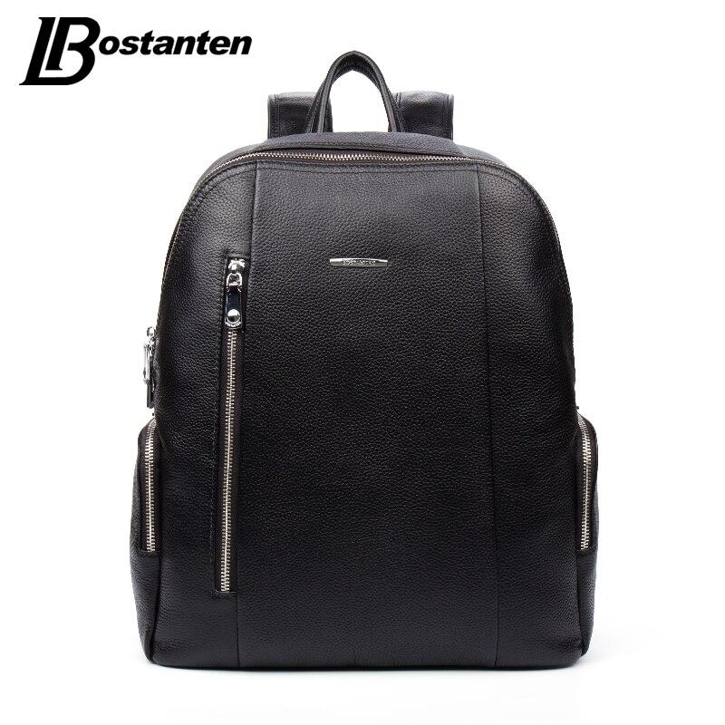 ФОТО BOSTANTEN Famous Brand Genuine Leather Men Backpack Bags Large Men Travel Bag Luxury Designer Leather School Bag Laptop Backpack