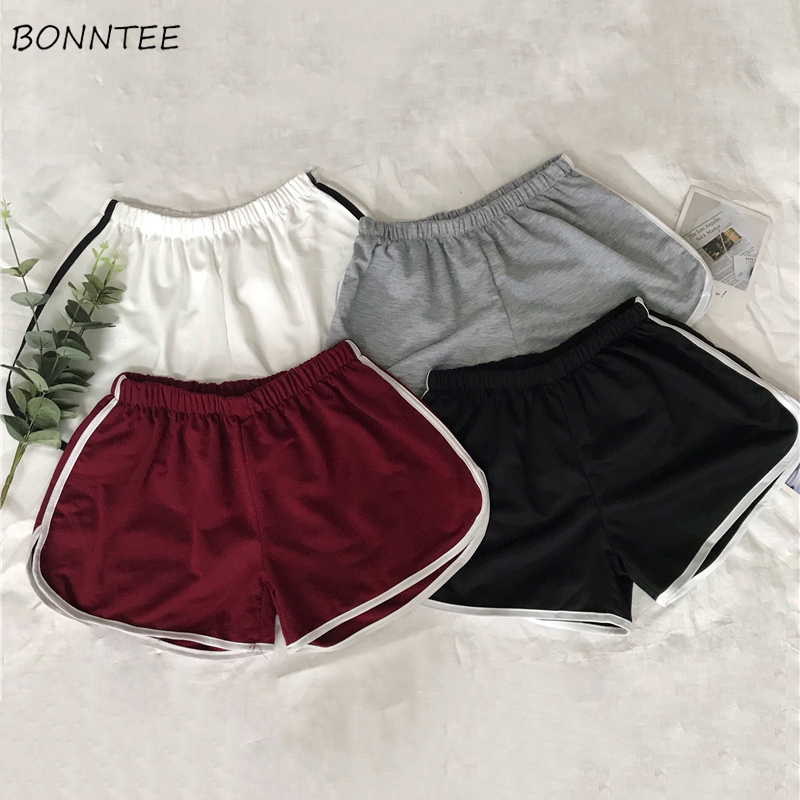 Shorts Women Summer Breathable Female Short Korean Loose Womens Daily Sports Leisure Simple Patchwork Wide Leg All-match Elastic