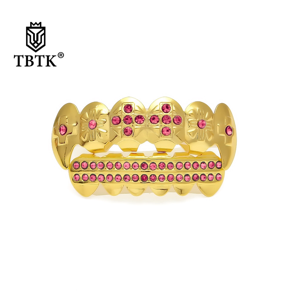 US $5 03 5% OFF|TBTK Vampire Fangs Teeth Grills Pink/Red/Blue Gold Dental  Braces Halloween Gift Fashion Trendy Teeth Grills Punk Party Style Man-in