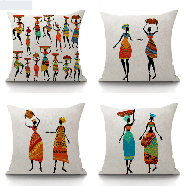 Traditional Indian Lady With Pots Throw Pillow Cover Decorative