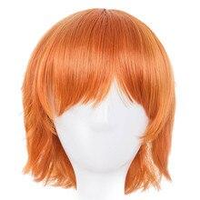 Оранжевый парик Fei-Show синтетические термостойкие волокна короткие волнистые волосы костюм мультфильм Cos-play женские волосы для салона Вечерние
