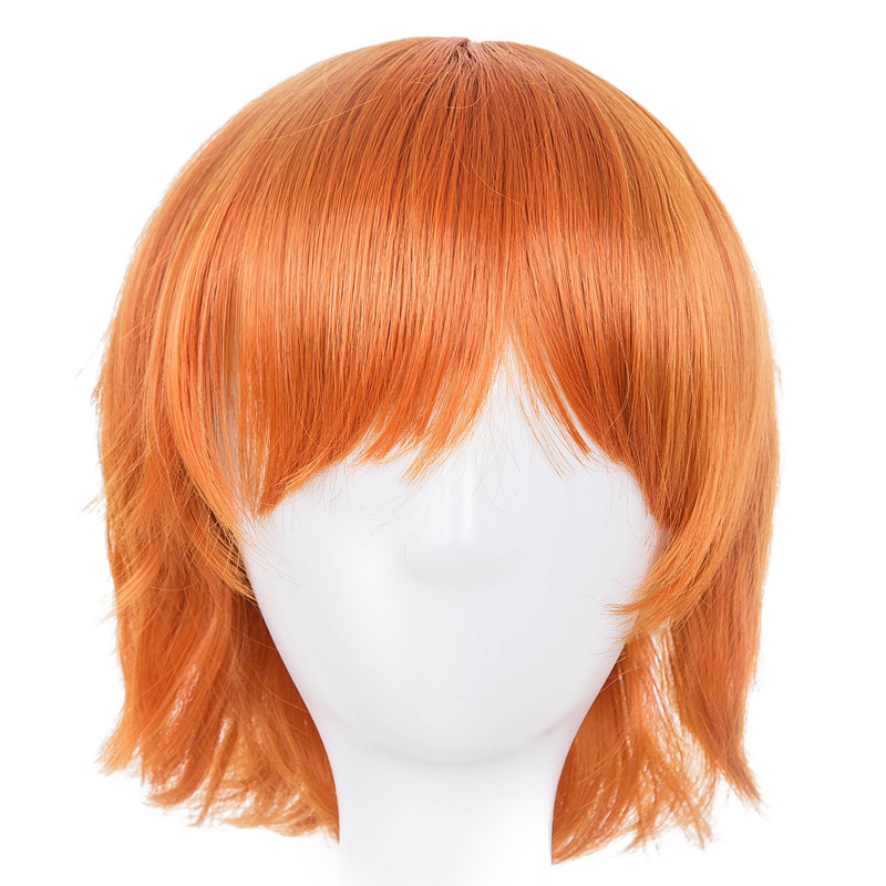 Synthetic None-lacewigs Hospitable Orange Wig Fei-show Synthetic Heat Resistant Fiber Short Wavy Hair Costume Cartoon Cos-play Ladies Hairpiece For Salon Party Hair Extensions & Wigs