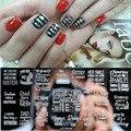Nuevo Diseño de Uñas de Arte Sello Estampado de la Placa rectángulo Carta de Acero Inoxidable DIY Esmalte de Uñas de Impresión de Uñas Plantilla de La Plantilla