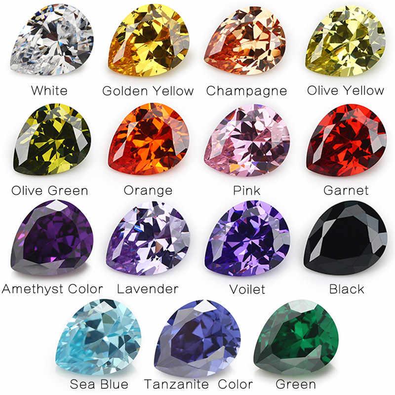 1 pièces par couleurs Total 15 pièces taille 4x6mm ~ 10x12mm poire forme lâche cubique zircone pierre CZ