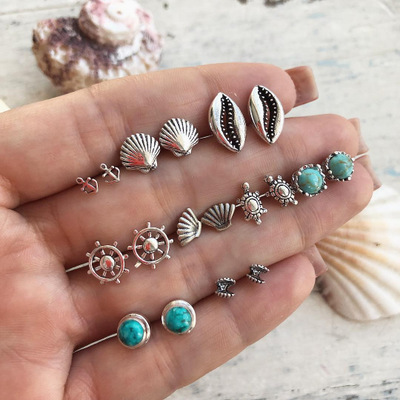 Europe And America New Jewelry Fashion Simple Rudder Shell Turtle 9 pairs Of Earrings For Women Jewelry Accessories Wholesale in Stud Earrings from Jewelry Accessories