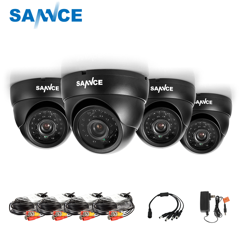 SANNCE 2/4CH 800TVL Bullet CCTV Camera Suite 1.0MP Waterproof IR-Cut Night Vision Camera For Surveillance System Kit 81BASANNCE 2/4CH 800TVL Bullet CCTV Camera Suite 1.0MP Waterproof IR-Cut Night Vision Camera For Surveillance System Kit 81BA