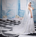Elegant Alencon Lace Trim Lace Hem Wedding Veils Quality Tulle Fabric White Cheap Romantic Bridal Veils