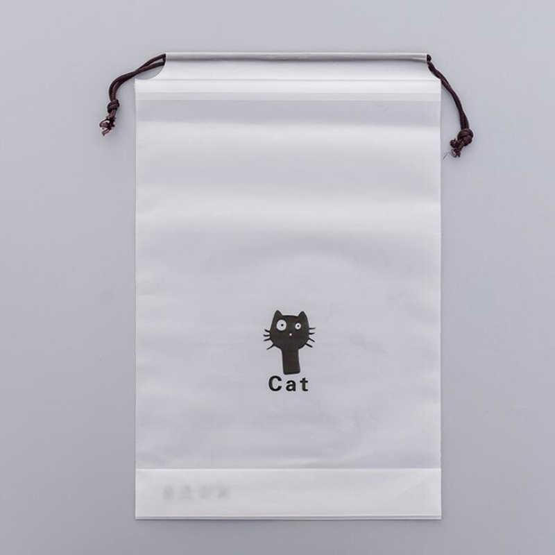 Bolsa de almacenamiento con cordón de gato negro de dibujos animados bolsa de viaje transparente impermeable ropa toalla ropa interior clasificación cosmética