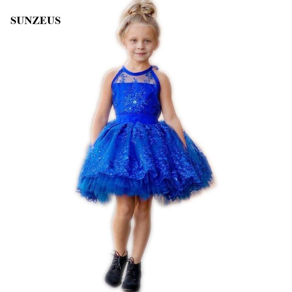 Royal Blue Short Flower Girl Dresses Beaded Sequins Ball Gowns Girls ...