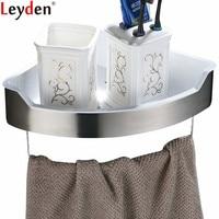 Leyden Single Tier Bathroom Accessories 304 Stainless Steel Brushed Bathroom Shelf With Towel Bar Wall Mount Bath Hardware
