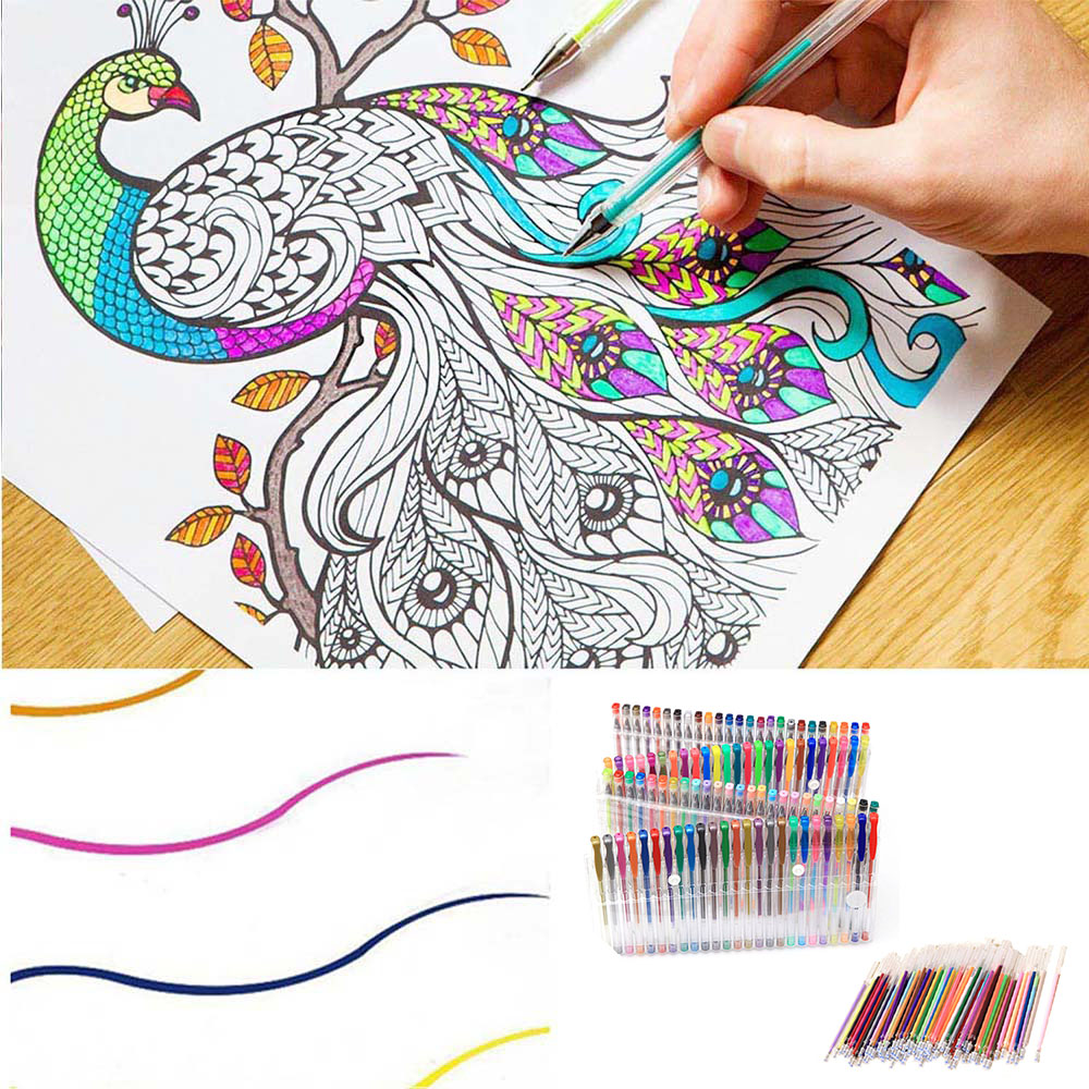 48/60/100ps MultiColor Gel Pens w/Replacement Refills for Children Adult Coloring Drawing Books Doodling Scrapbook Color Pen Set refills for preventa mmf kable and sentry counter pens 2 pack [set of 3]