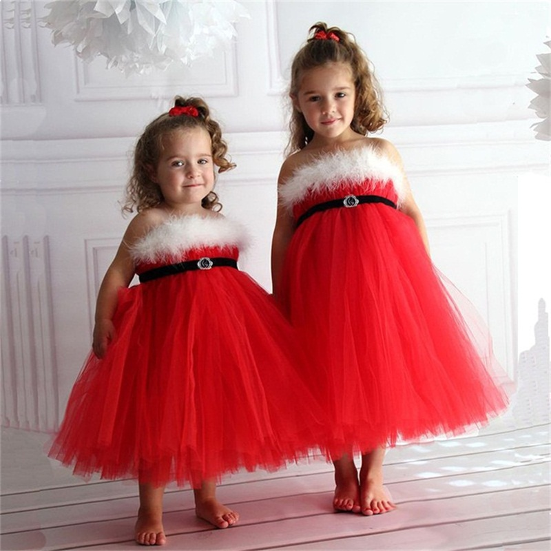 Red Christmas Dress For Baby Girl Santa Fancy Ball Party Dress Kids Festival Christmas Costume 3 To 8 Years Children Clothing