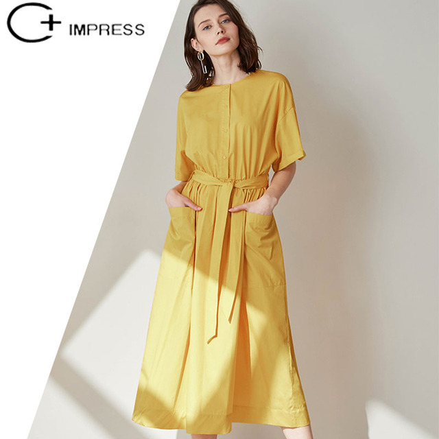 C Impress Dress Women Cotton Summer Simple Office Las Yellow Female One Piece Thin