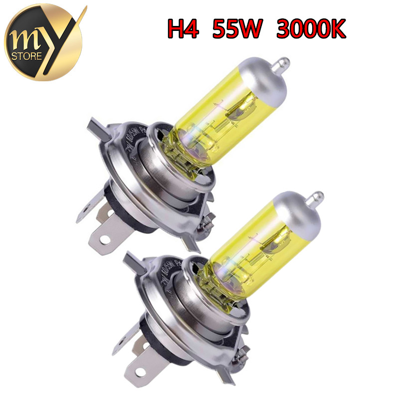 2pcs  H4 55W 12V Yellow Fog Lights Halogen Bulb High Power Headlight Lamp Car Light Source parking Head auto 60/55W 3000K
