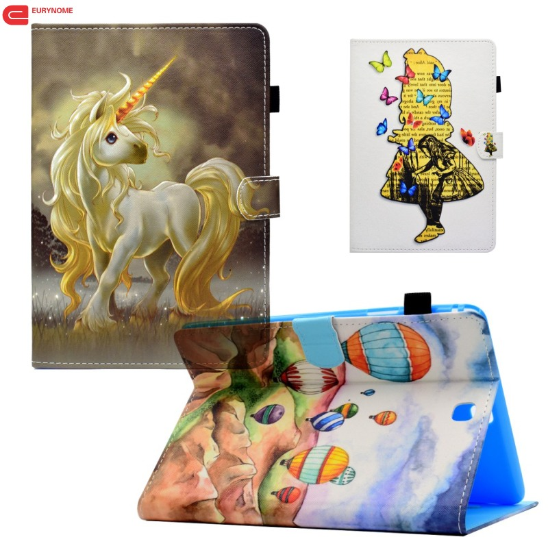 Case For Samsung Galaxy T550 T555 Case Unicorn Cat Card Pu Leather Stand Cover For Samsung Galaxy Tab A 9.7 T555 T550 SM-T550