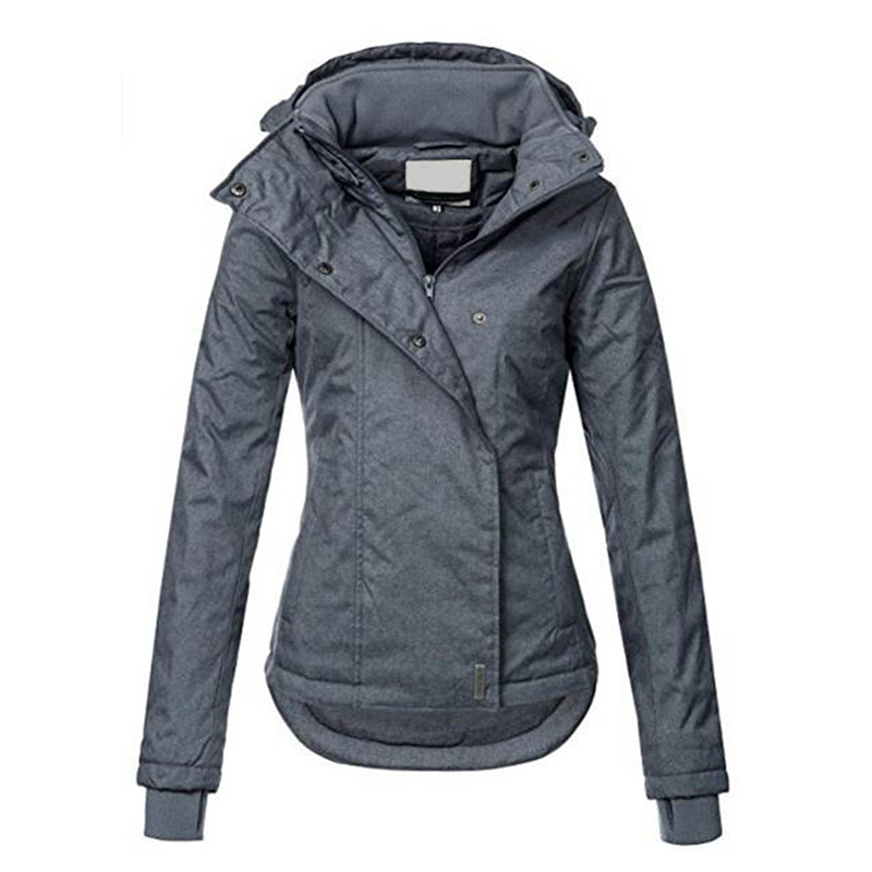 Women Jackets Winter Autumn Slim Hooded Coats Causal Pocket Fashion Asymmetrical Warm Windproof Windbreaker Basic Coat