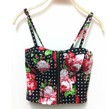 Sexy Corset crop tops women 2017 Backless Halter Tank Top Retro Camisoles Wrapped Chest white Black Print Floral Harness Top