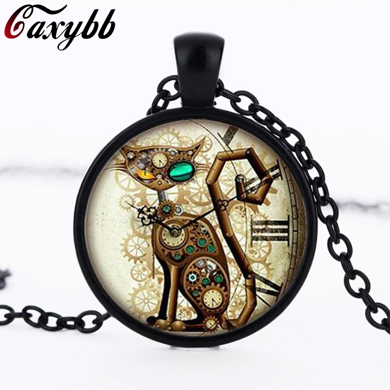 Fashion punk cat glass pendant necklaces clock cats silver fashion punk cat glass pendant necklaces clock cats silver necklace for women jewelry free shipping aloadofball Gallery