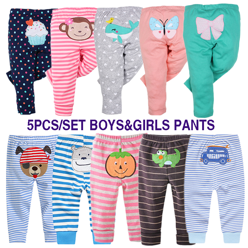 5 Pcs/Lot New Born Baby Boys Girls Pants Striped Polka Dots Boys Pants With Cartoon Embroidery Autumn Baby Kids Trouser