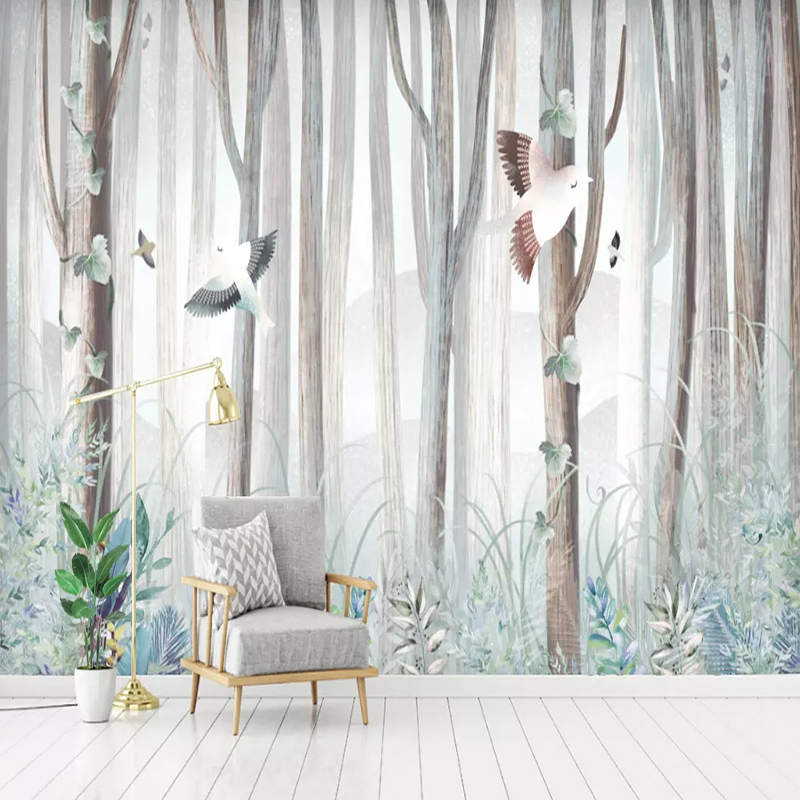 3D Wallpaper Modern Simple Forest Tree Birds Animal Murals Living Room Cartoon Bedroom Background Wall Painting Papel De Parede