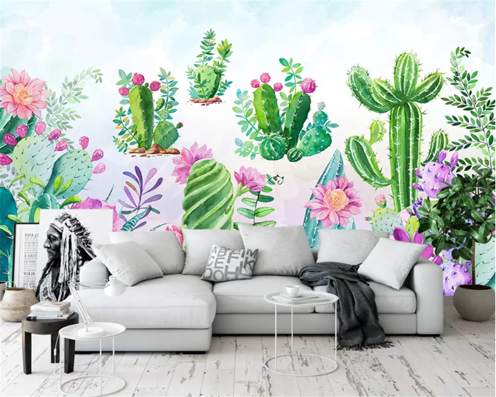 beibehang Custom classic personality papel de parede 3d wallpaper hand painted fresh garden succulent background wall painting in Wallpapers from Home Improvement