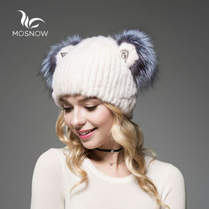 Image 3 - 2019 Brand New Hat Female Winter Real Mink Fur With Cute Cat Ear Knitted Striped Solid Casual Women Hat Caps Bonnet Femme