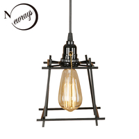 Simple iron black pendant light LED E27 industrial retro hanging lamp with switch for living room bedroom aisle bar shop cafe