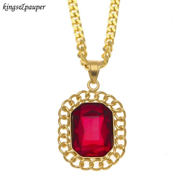 Stainless Steel Flower Design Gem Mosaic Necklace Pendant High Quality Men Women  Hip Hop Jewelry d3235ad4d