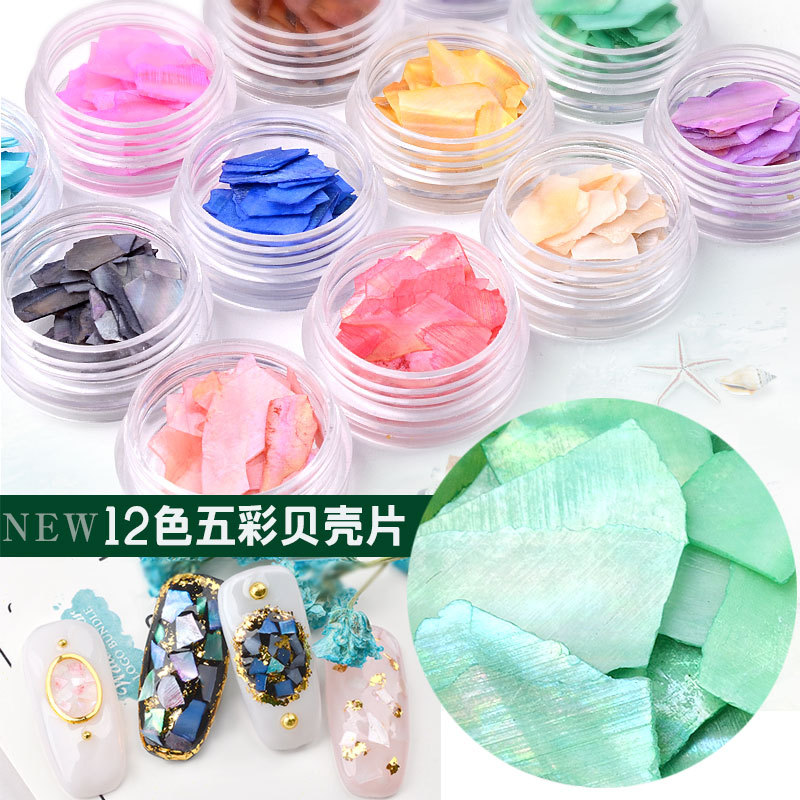 12 Colors=one set Glitter Nail Art Decoration Shell Sheet Flake Thin Slice Nail Sequins Shell Fragments Elegant Glitter