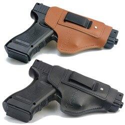 Кожаный IWB скрытый чехол для переноски пистолета Glock 17 19 22 23 43 Sig Sauer P226 P229 Ruger Beretta 92 M92 s & w пистолеты клип-кейс