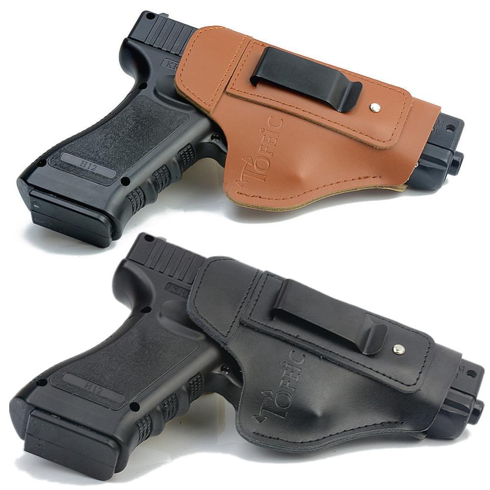 Couro iwb escondido carry gun coldre para glock 17 19 22 23 43 sig sauer p226 p229 ruger beretta 92 m92 s & w pistolas clipe caso
