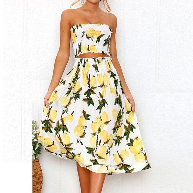 928c91d42254a EFINNY Women s Set Summer Floral Sunflower Lemon Print Crop Tube Top and Midi  Skirt Set 2 Piece Suit-in Women s Sets from Women s Clothing on  Aliexpress.com ...