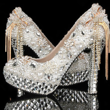 Custom Made Gorgeous Ivory Pearls Bridal Shoes with gold Bow Tie Silver Crystals Lady High Heels Bridal Wedding Shoes