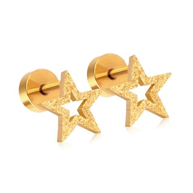 4715aefd8 New Gold Earrings Stainless Steel Scrub Star Shape Screw Stud Earrings For  Women/Girl Brinco Cheap Wedding Jewelry Gift