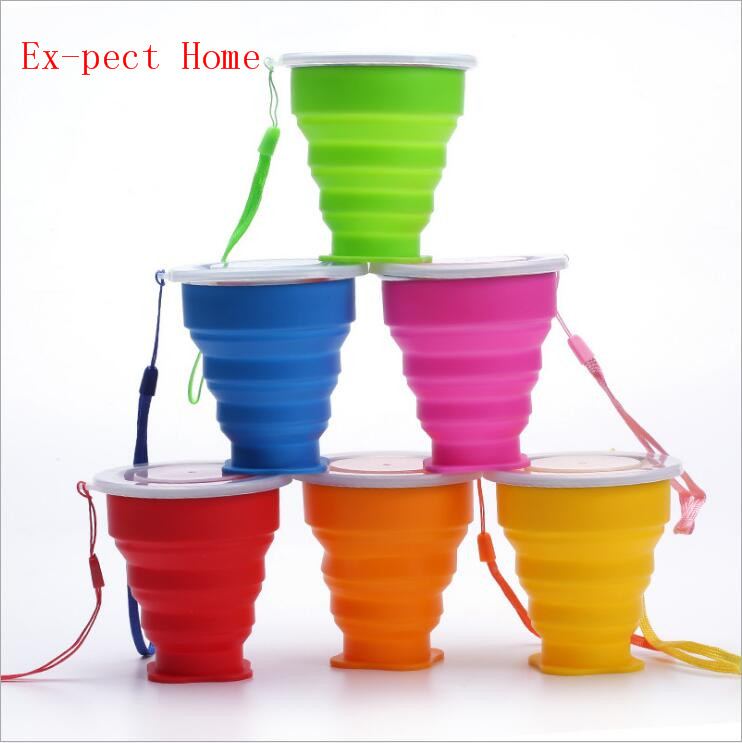 400 pcs 240ml Vogue Portable Collapsible Travel Coffee Tea Cups Silicone Outdoor Camping Cup Folding Retractable fold Water Cup