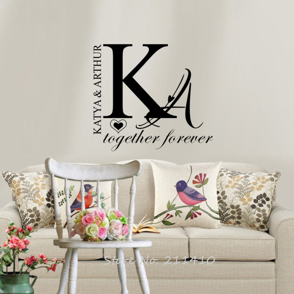 Newlywed Home Decor: Personalized Couple Name Wall Sticker Home Decor Bedroom