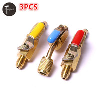 3pcs 1 4 SAE Car Air Conditioning Refrigeration Ball Valve Adapter Switch For R12 R22 R502