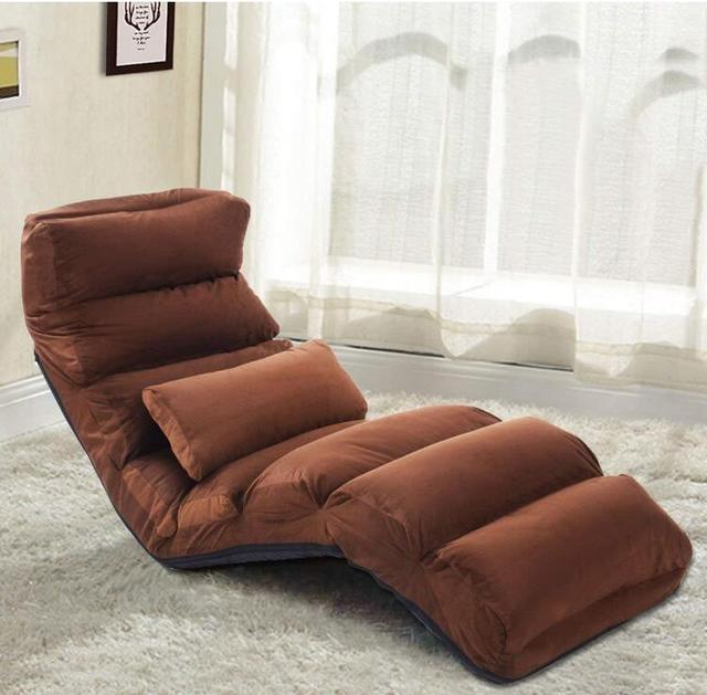 Folding Floor Sofa Chair Adjustable Lazy Lounge Bed Single Couch