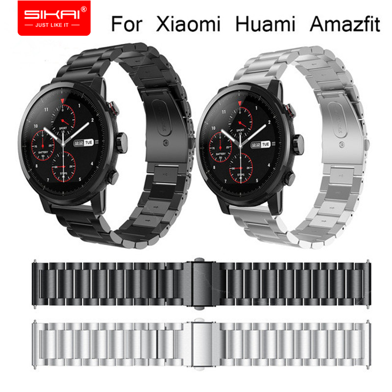 SIKAI New 22mm Universal Stainless Steel Bracelet For Huami Amazfit Stratos 2 Smartwatch Band Strap 22mm Watch Fashion Bracelet sikai 22mm soft silicone watch band with protective case for huami amazfit pace bracelet case smartwatch band wristband straps