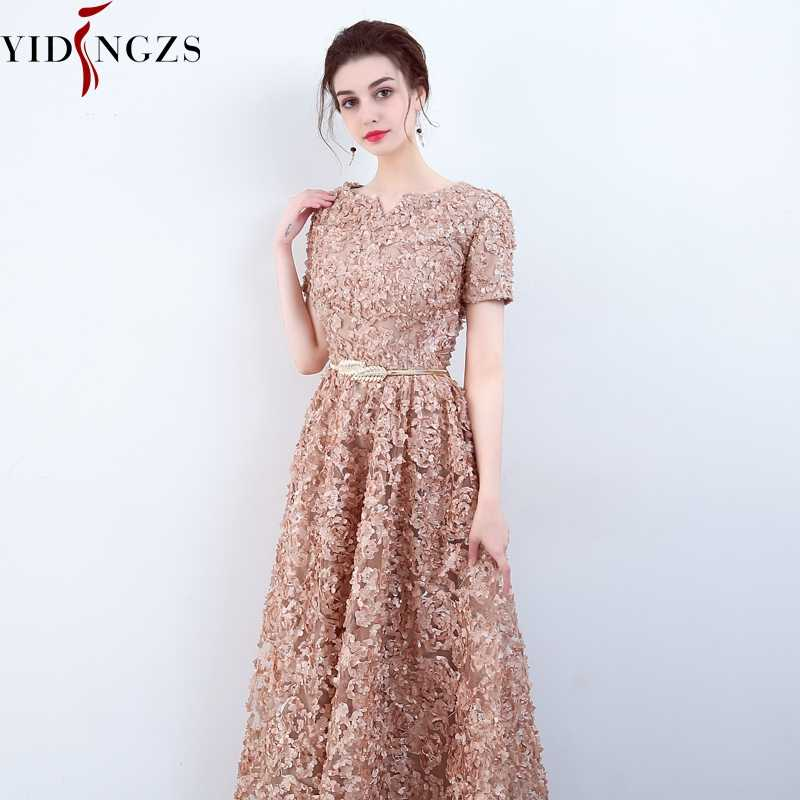 Yidingzs With Pockets Fashion Khaki Lace Prom Dress Simple Floor Length Party Formal Evening Gown
