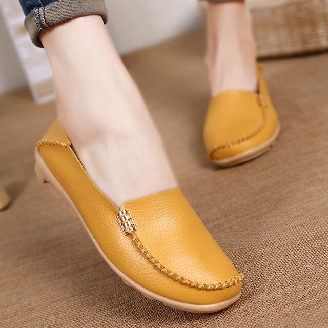 Zapatos planos de mujer mocasines suaves con zapatos de cuero genuino zapatos planos de Mujer talla grande zapatos casuales de mujer oxford