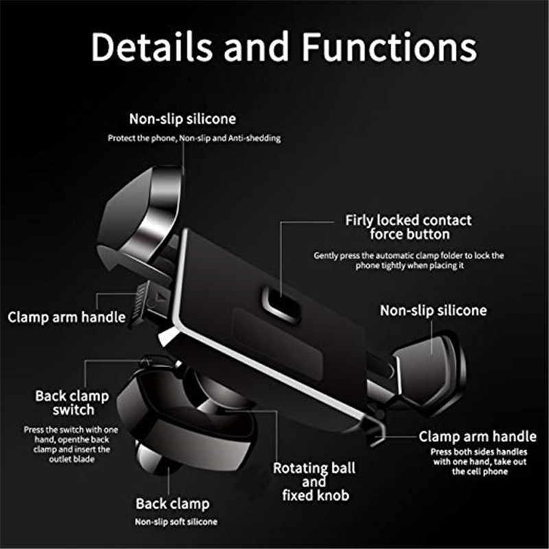 Держатель телефона для автомобиля с автоматическим зажимом вентиляционное отверстие 360 градусов вращение одной рукой управление регулируемые ручки для iPhone Xs Max XR X 8 7