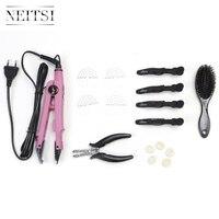Neitsi Extensions de Cheveux Connecteur Rose Noir Euro plug & Cheveux Fer Outils (Jetée, brosse, U Conseils, chaleur Bouclier Protecteur, cheveux Clips)