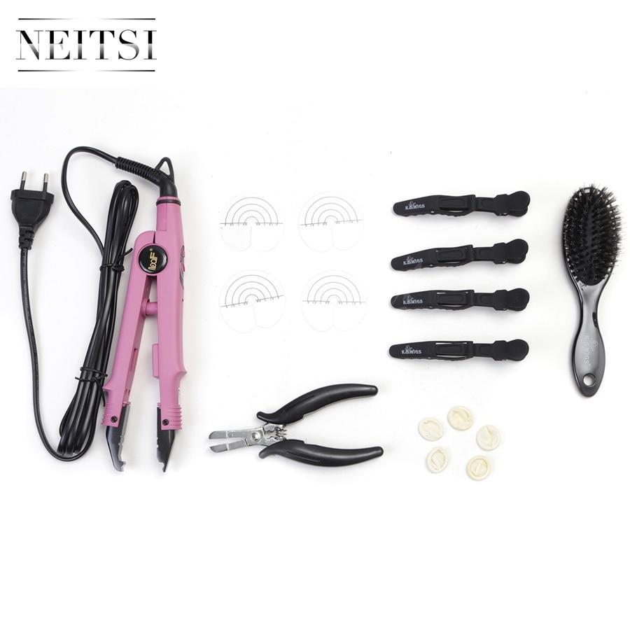 Neitsi Hair Extensions Connector Pink Black Euro plug & Hair Iron Tools(Pier, Brush, U Tips, Heat Protector Shield, Hair Clips)