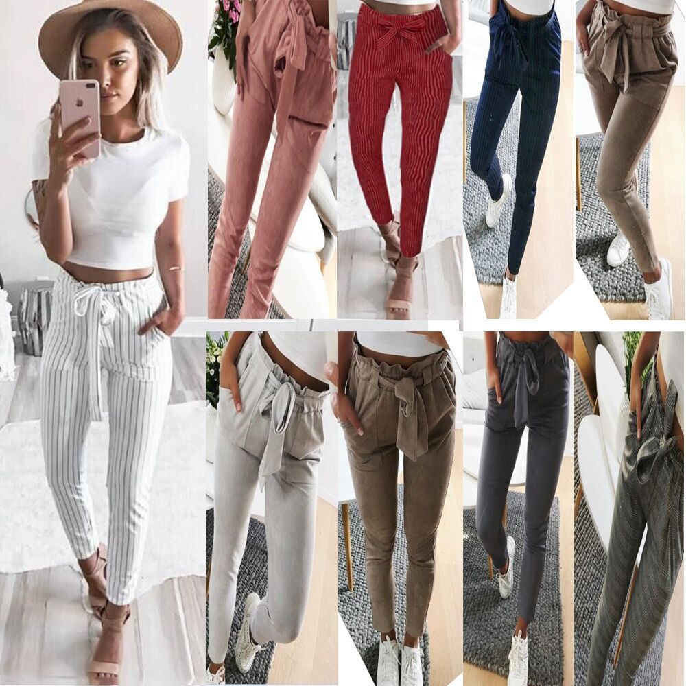 Striped Strechy Elastic High Waist Harem Pants Women Bowtie Belt Slim Long Trousers Women's Casual Capris With Pockets